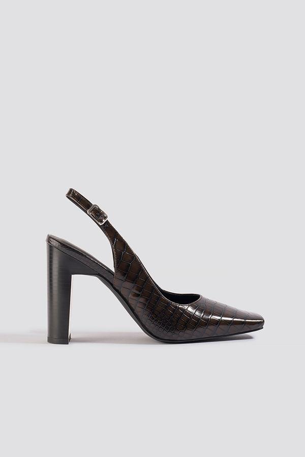 NA-KD Shoes Snake Squared Front Slingback Pumps brun