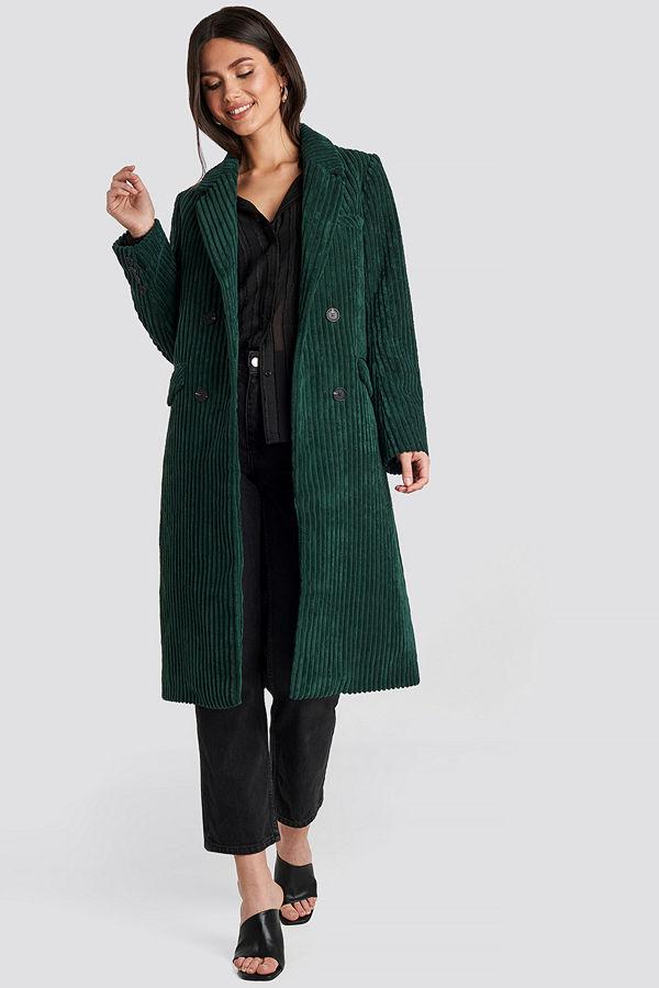 NA-KD Corduroy Coat grön
