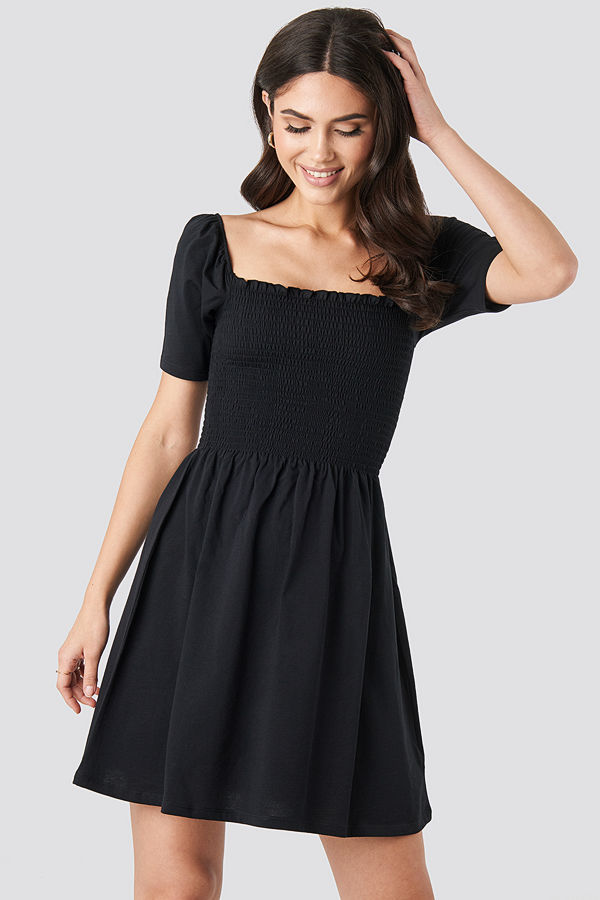 NA-KD Boho Puff Sleeve Shirring Mini Dress svart