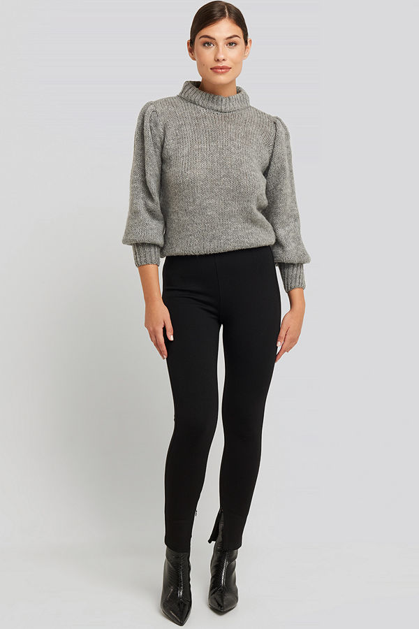 NA-KD Zip Detail Jersey Pants svart