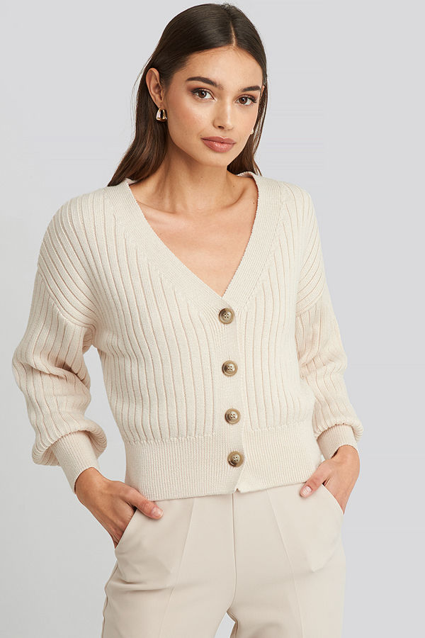 NA-KD Ribbed Cropped Cardigan beige