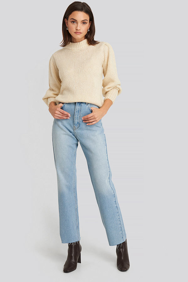 NA-KD High Waist Raw Hem Straight Jeans blå