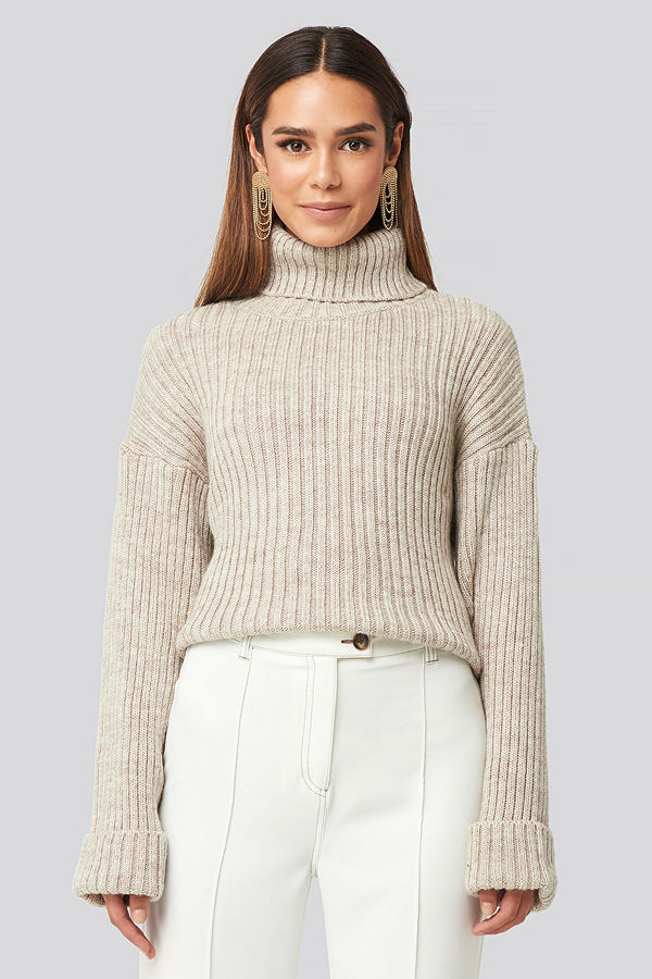 NA-KD Ribbed Knitted Turtleneck Sweater beige