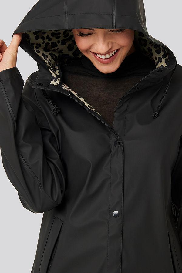 NA-KD Bonded Leo Rain Coat svart