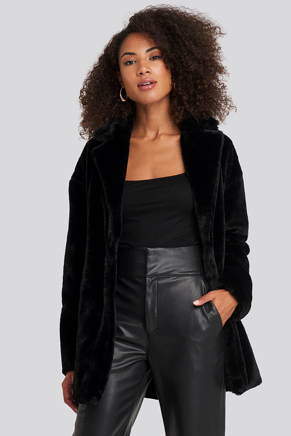 Rut & Circle Tyra Faux Fur Jacket svart