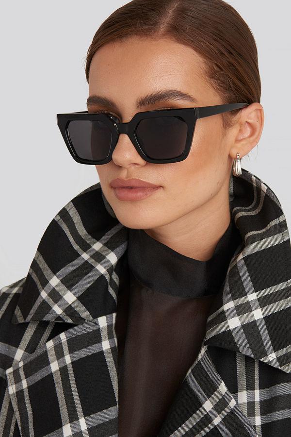 NA-KD Accessories Sharp Edge Square Sunglasses svart