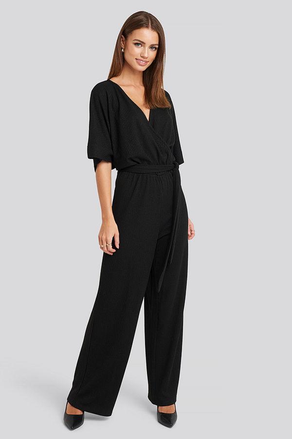 NA-KD Party Kimono Sleeve Lurex Jumpsuit svart