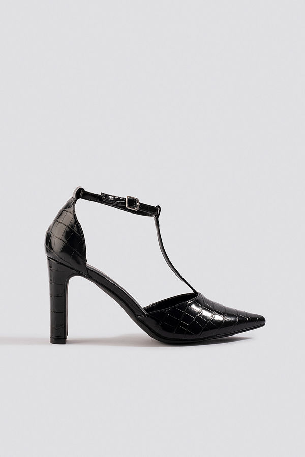 NA-KD Shoes Croco T Bar Pumps svart