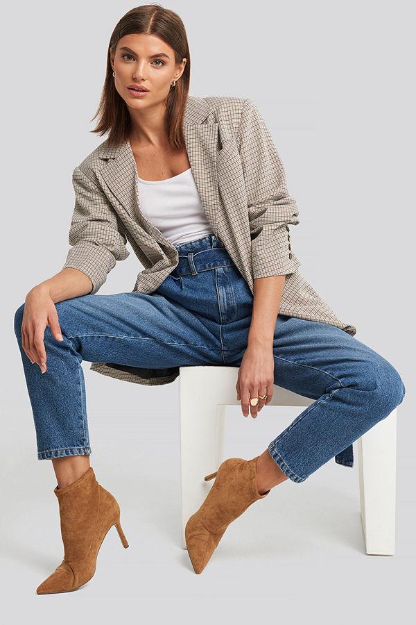 NA-KD Paperbag Waist Jeans blå