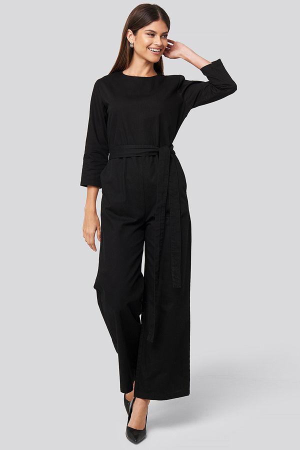 NA-KD Trend Belted Waist Detail Jumpsuit svart
