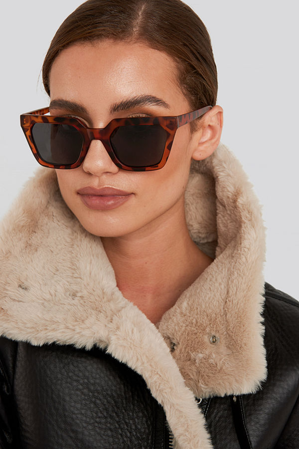 NA-KD Accessories Sharp Edge Square Sunglasses brun