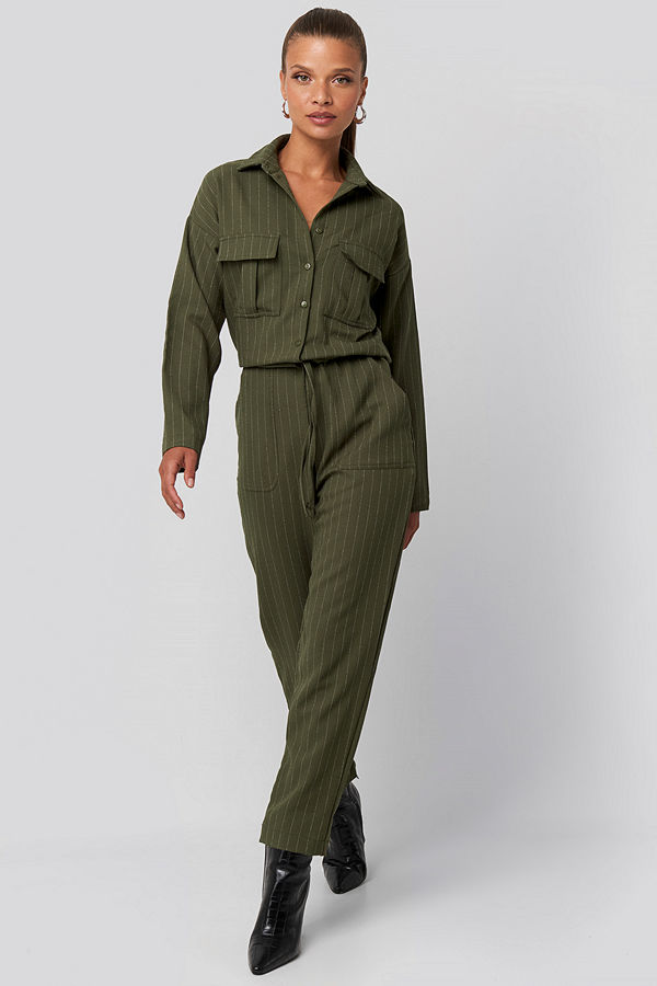 Trendyol Binding Detailed Jumpsuit grön