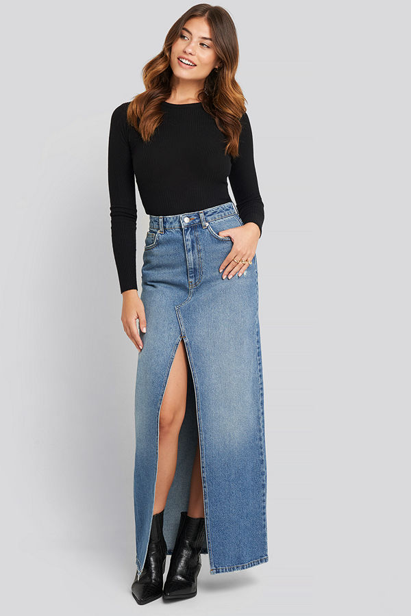 NA-KD Front Split Maxi Denim Skirt blå