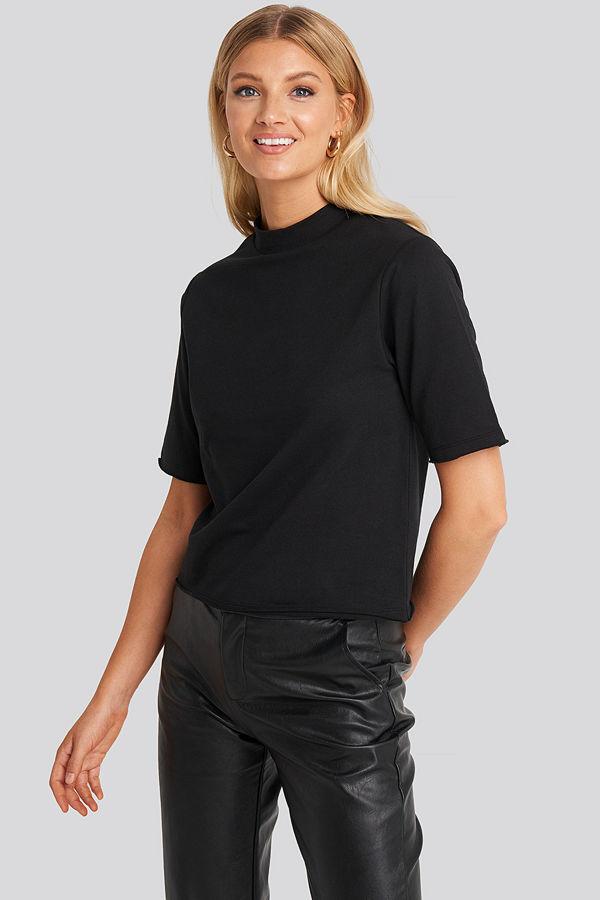 NA-KD High Neck Short Sleeve T-shirt svart