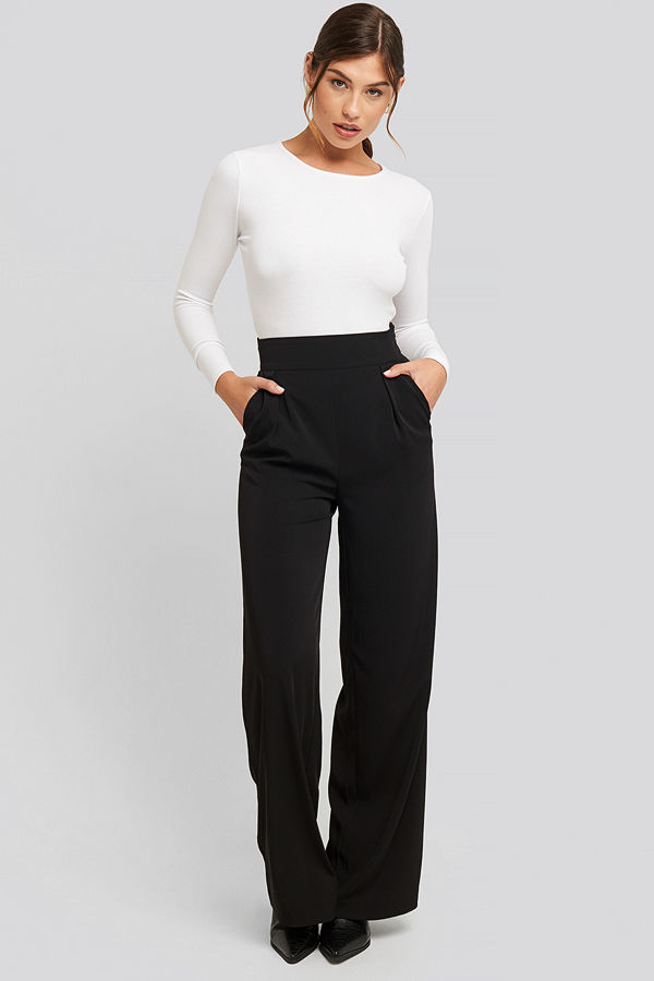 NA-KD Classic svarta byxor High Waisted Wide Leg Suit Pants svart