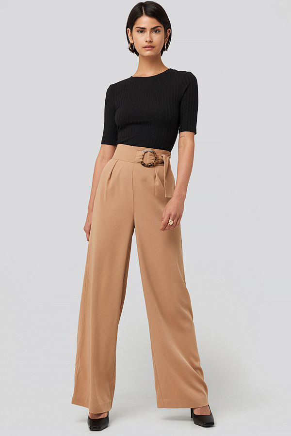 NA-KD Classic Belted Wide Leg Pants beige byxor