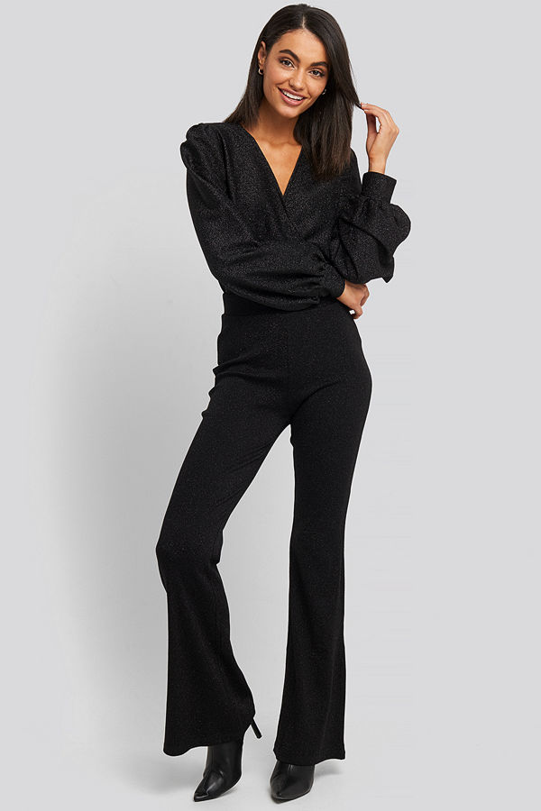 NA-KD Party High Waist Flare Lurex Pants svart