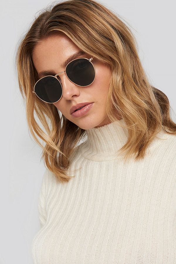 NA-KD Accessories Round Metal Sunglasses grön guld