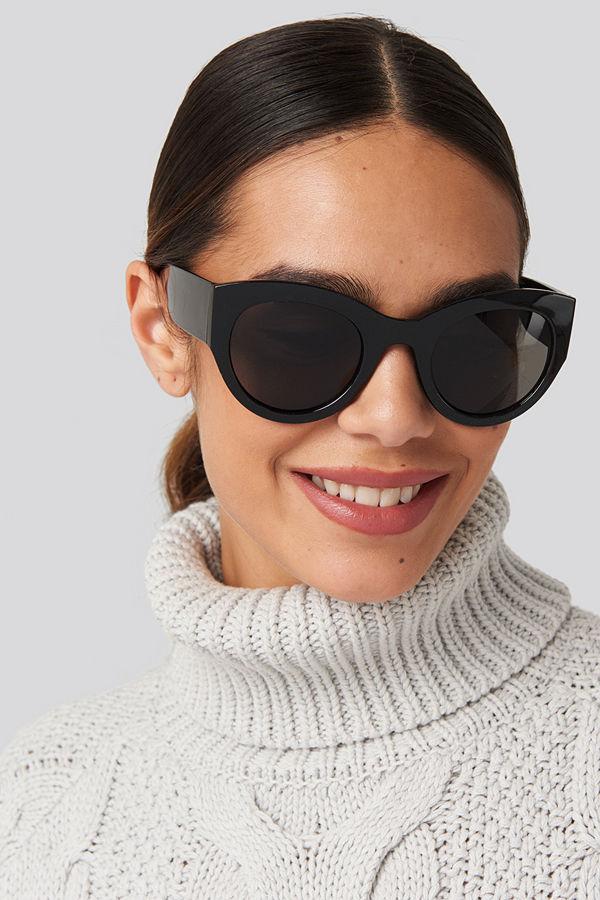 NA-KD Accessories Wide Temple Cateye Sunglasses svart