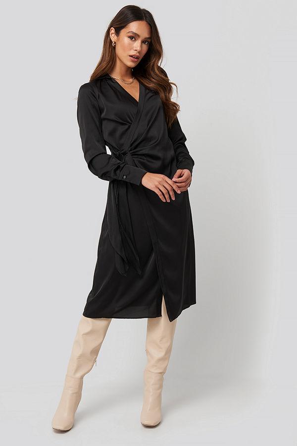 NA-KD Trend Side Tie Satin Midi Dress svart