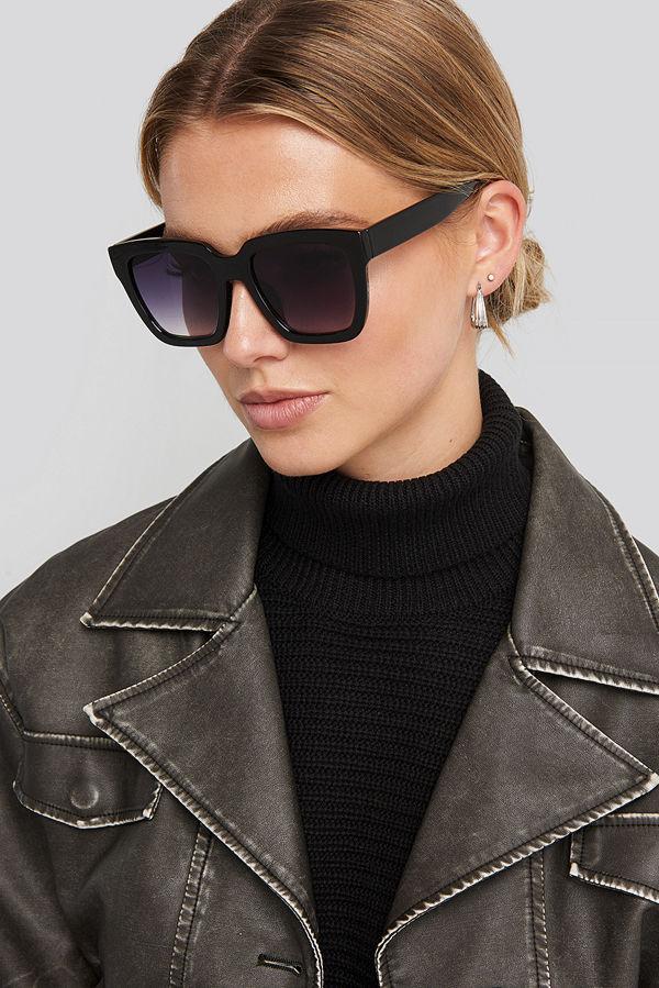 NA-KD Accessories Squared Oversized Sunglasses svart