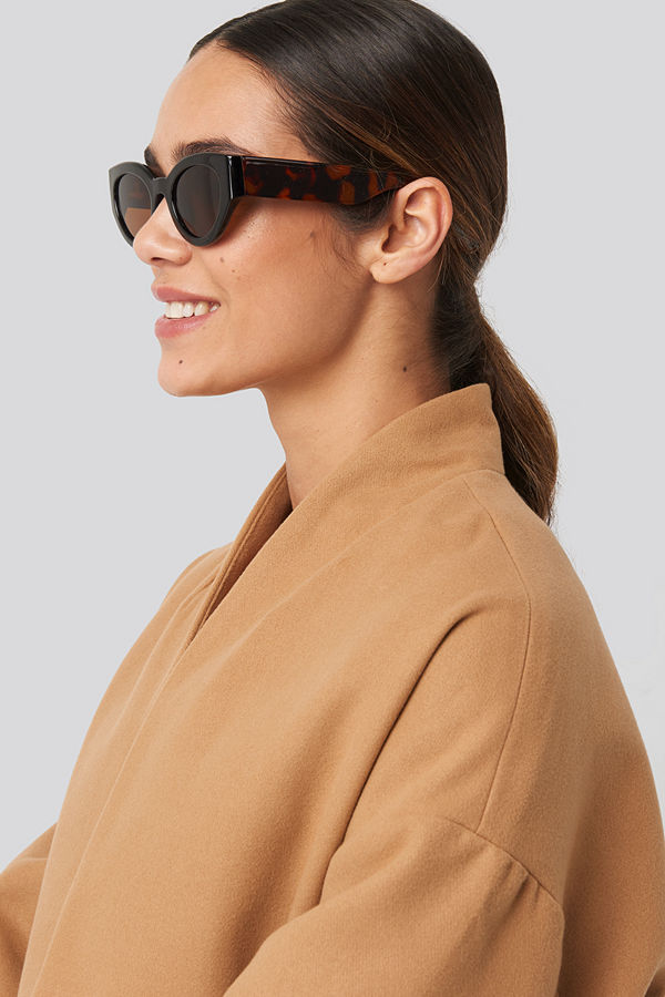 NA-KD Accessories Detailed Temple Cateye Sunglasses brun