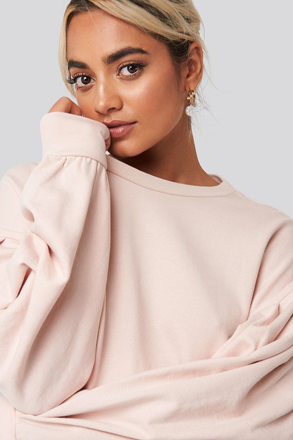 NA-KD Balloon Sleeve Oversized Sweatshirt rosa