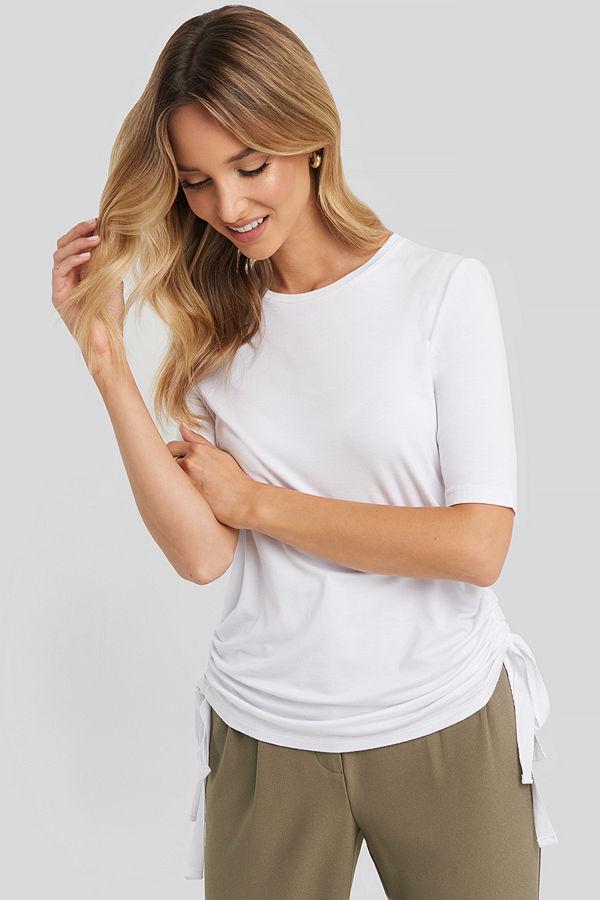 NA-KD Trend Side Tie Cropped T-Shirt vit