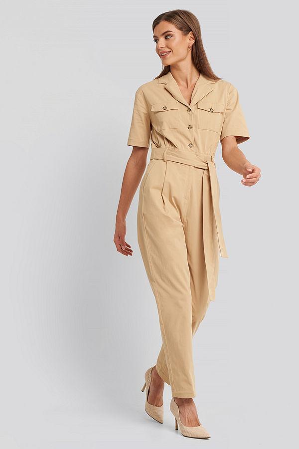 NA-KD Belted Cargo Short Sleeve Jumpsuit beige