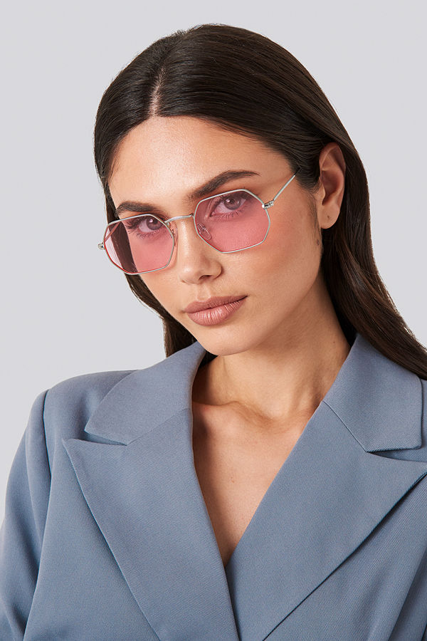 NA-KD Accessories Octagon Sunglasses rosa