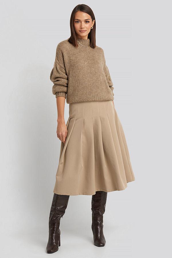 NA-KD Classic Tailored Pleated Midi Skirt beige