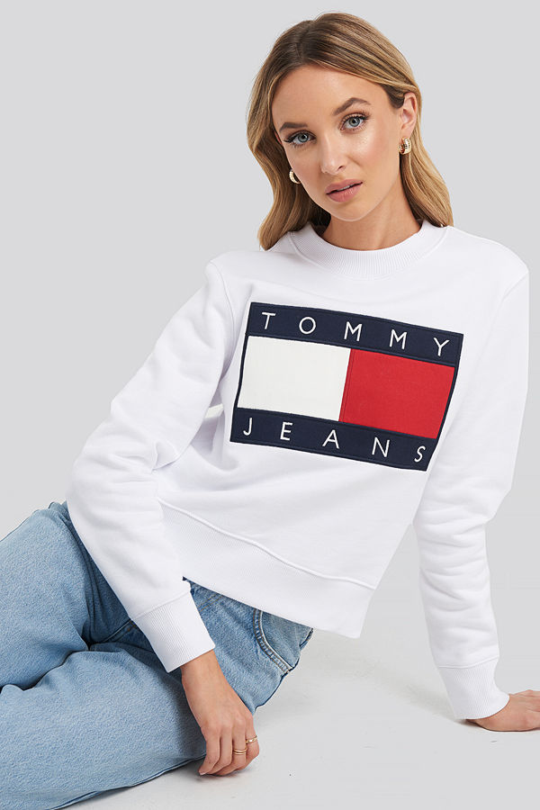 Tommy Jeans Tommy Flag Crew vit