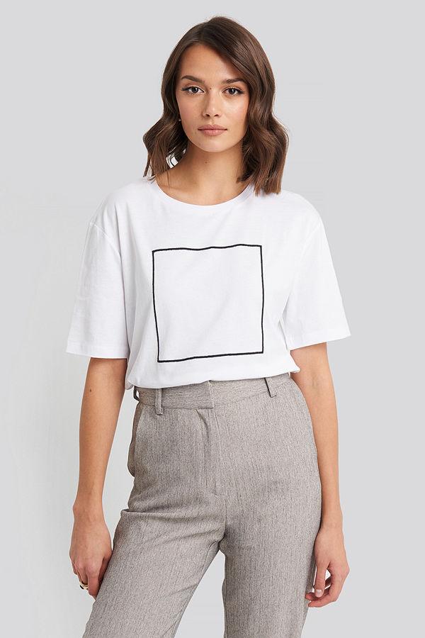 NA-KD Square Oversized T-shirt vit