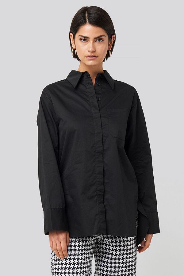 NA-KD Classic Oversize Bomullskjorta Med Ficka svart