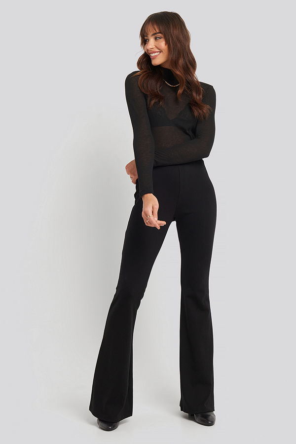 NA-KD Trend High Waist Flare Leggings svart