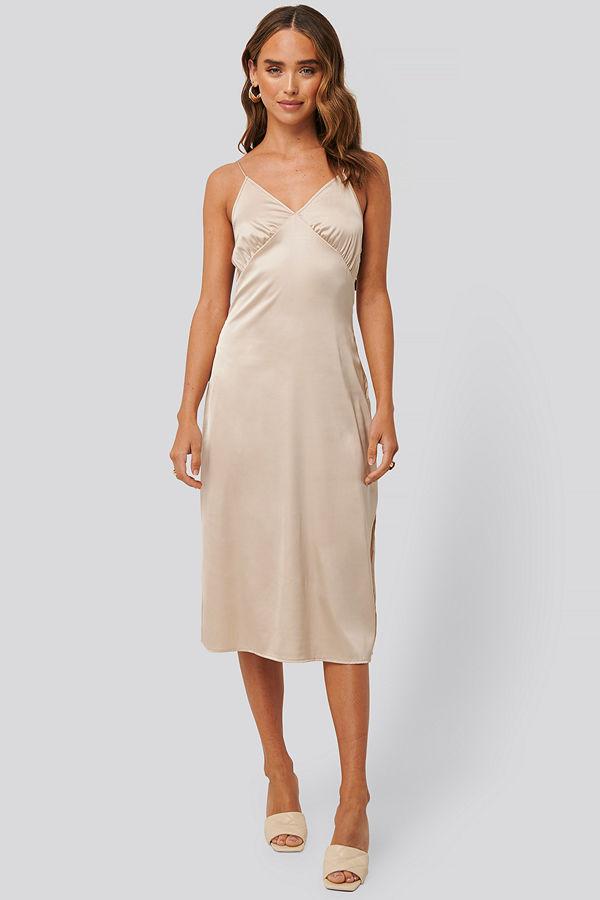 NA-KD Party Slip Satin Slit Dress beige