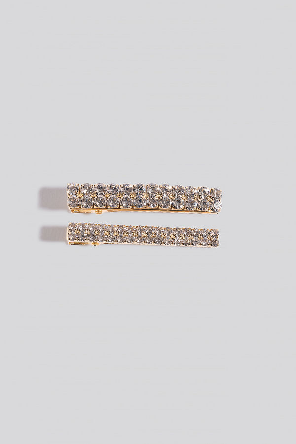 NA-KD Accessories 2-pack Strass Hairclips guld