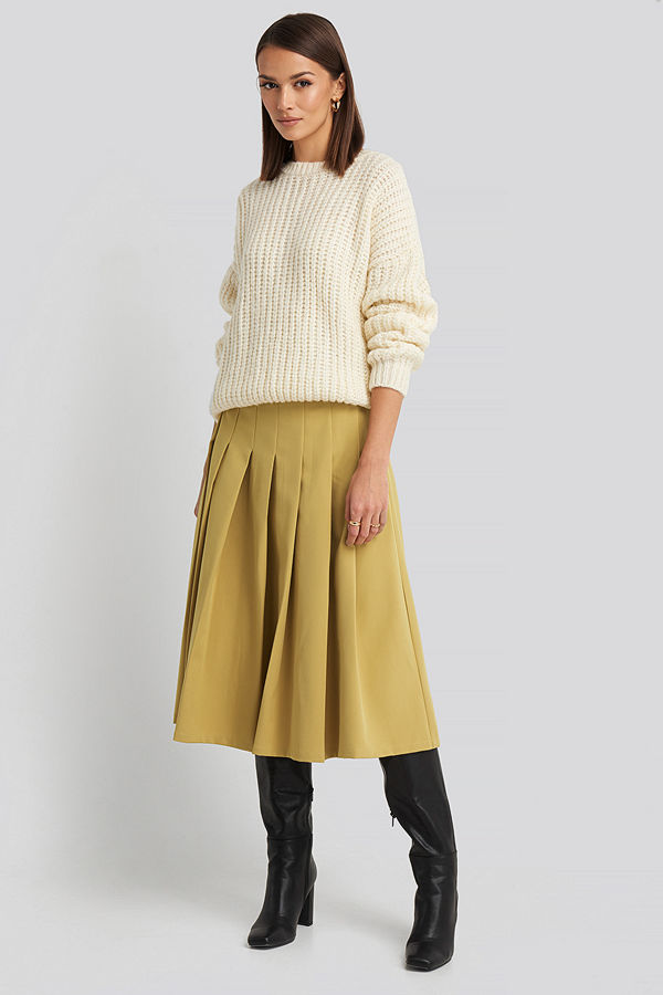 NA-KD Classic Tailored Pleated Midi Skirt gul