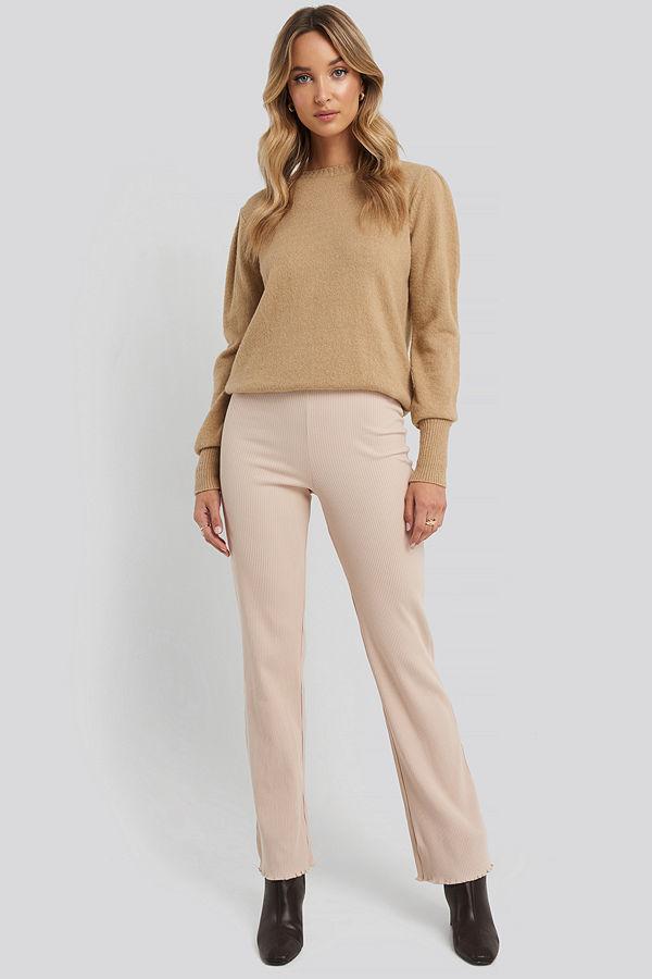 NA-KD Flare Ribbed Pants beige