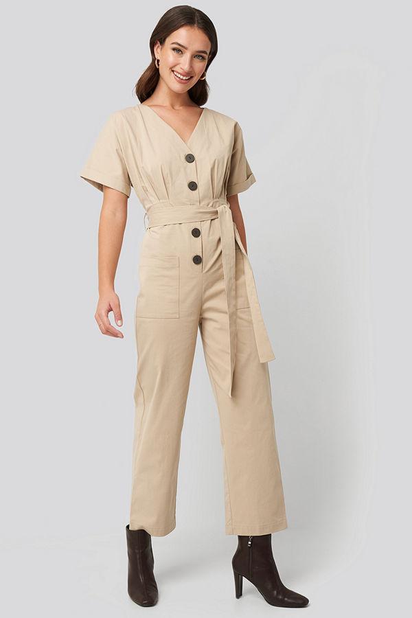 NA-KD Belted Button Up Jumpsuit beige