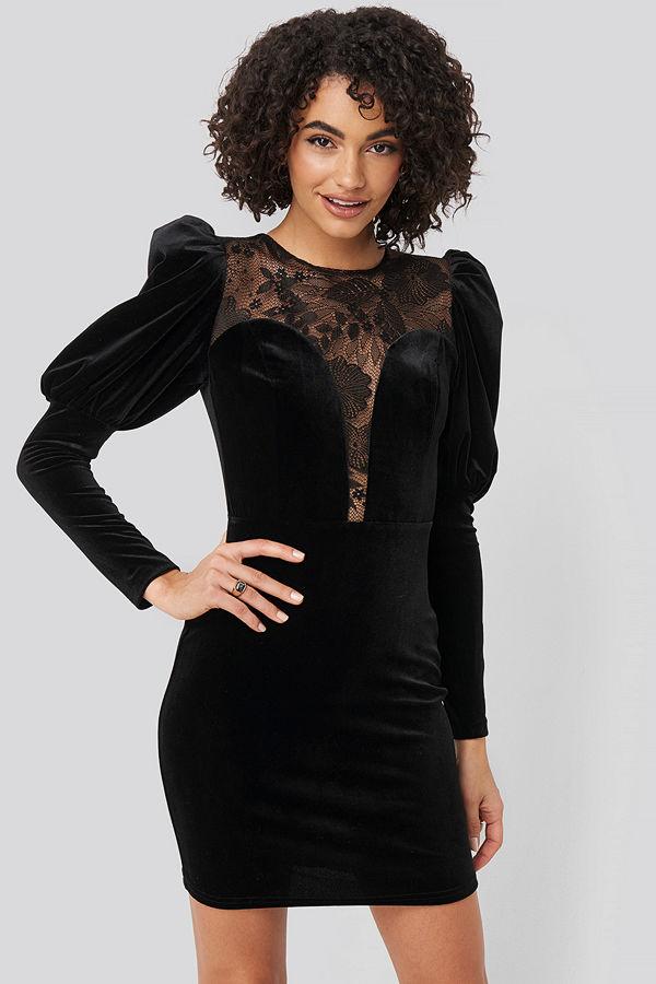 Trendyol Puff Sleeve Detailed Velvet Dress svart