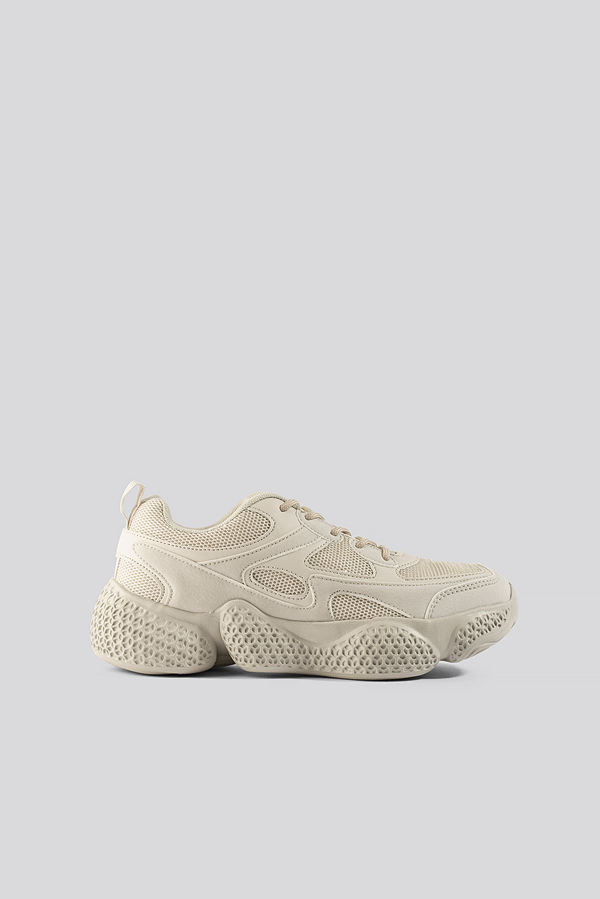 NA-KD Shoes Patterned Wavy Sole Trainers beige