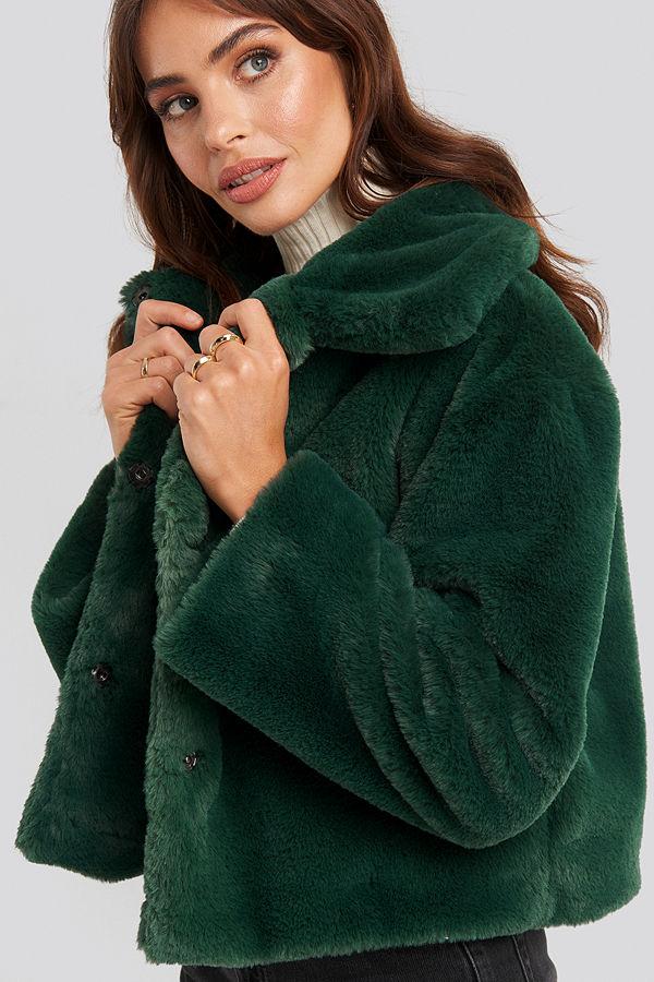 Rut & Circle Elin Faux Fur Short Jacket grön