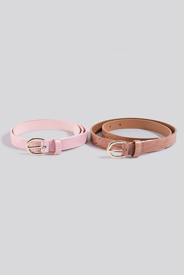 NA-KD Accessories Double Pack Slim Belts rosa beige