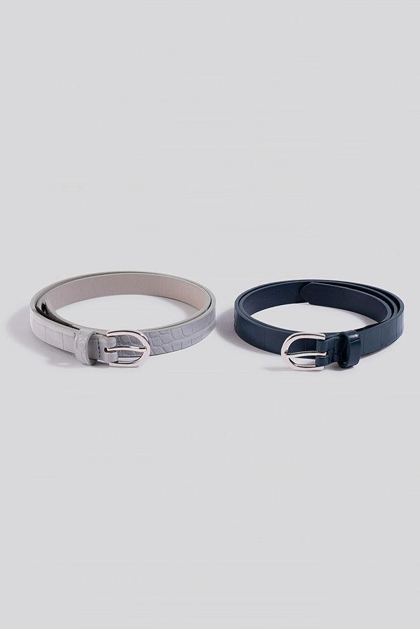 NA-KD Accessories Double Pack Slim Belts grå blå