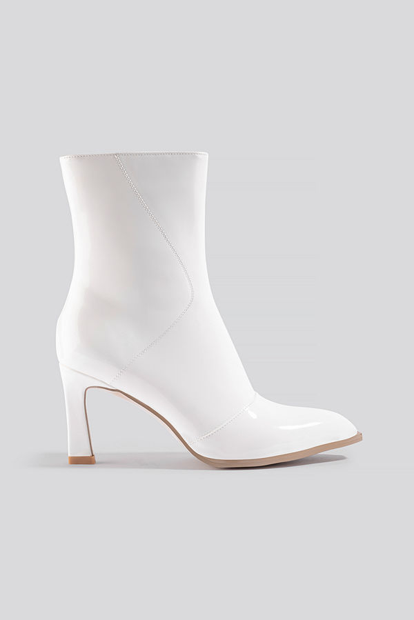 NA-KD Shoes Glossy Patent Low Boots vit