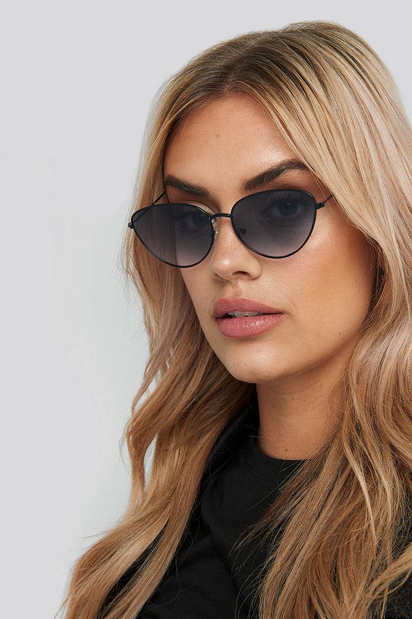 NA-KD Accessories Drop Shape Metal Frame Sunglasses svart