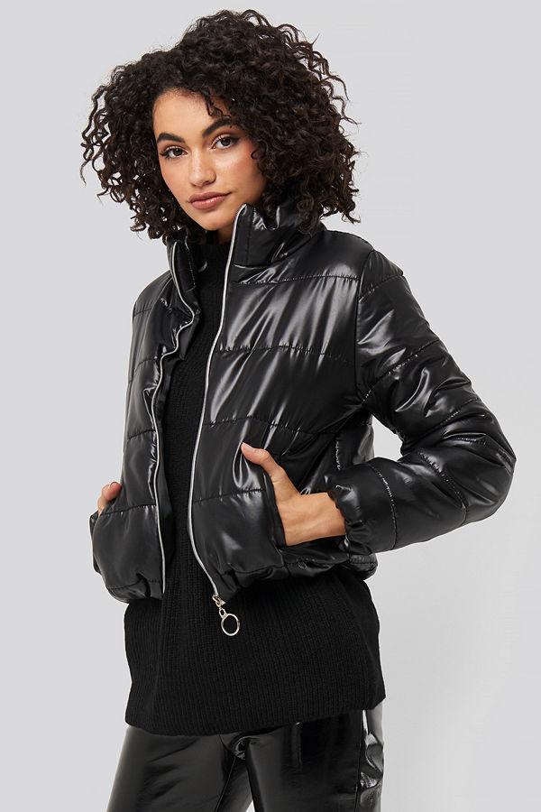 Trendyol Zipper Upright Collar Crop Jacket svart bomberjacka