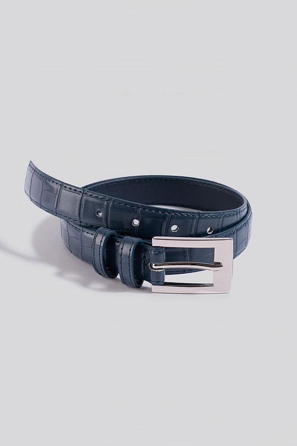 NA-KD Accessories Croc Slim Rectangular Belt blå