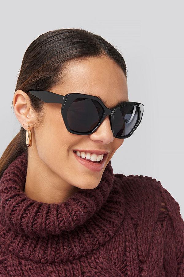 NA-KD Accessories Retro Octagon Sunglasses svart